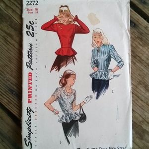 1940s Simplicity 2272 Blouse Pattern B34